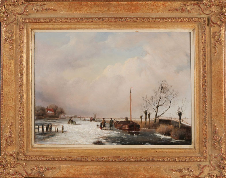 te_koop_aangeboden_een_wintergezicht_van_de_nederlandse_kunstschilder_jacobus_freudenberg_1818-1873_hollandse_romantiek