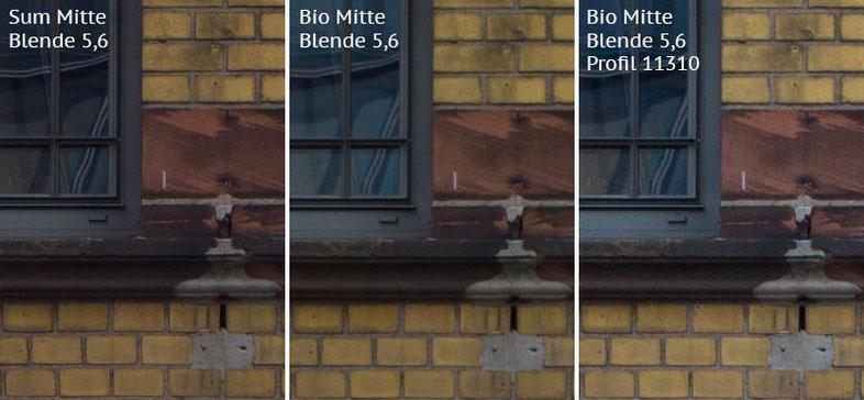 Vergleich mit Leica M9 bei Blende 5,6: Summicron-M 2,0/35mm Asph. vs. Biogon ZM 2,0/35mm ohne/mit Profil. Foto: Klaus Schoerner