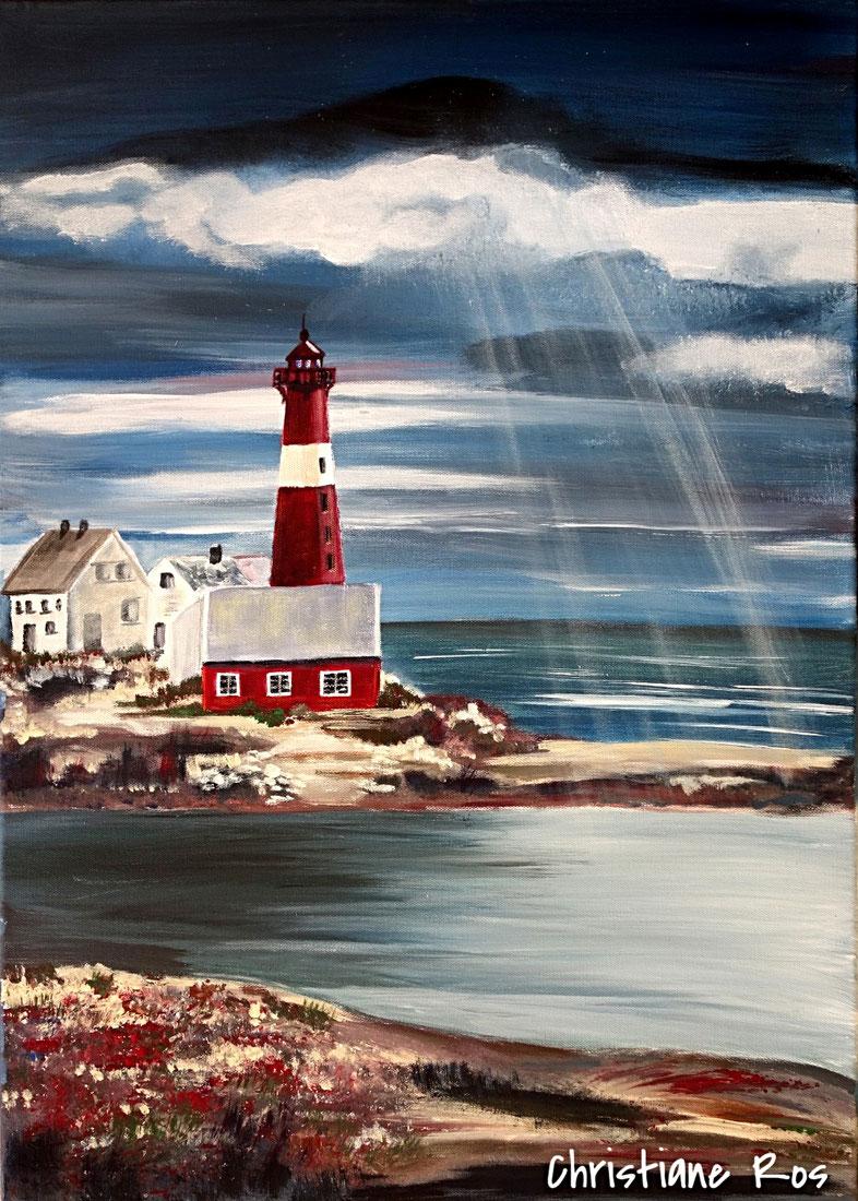 gemaltes Bild Leuchtturm in Norwegen © Christiane Ros