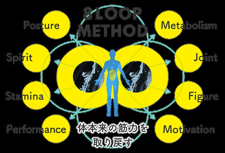 エイトループのトレーニングメソッド、姿勢西神スタミナパフォーマンス代謝身体の繋がり体型モチベーションなど身体本来の筋力を取り戻す