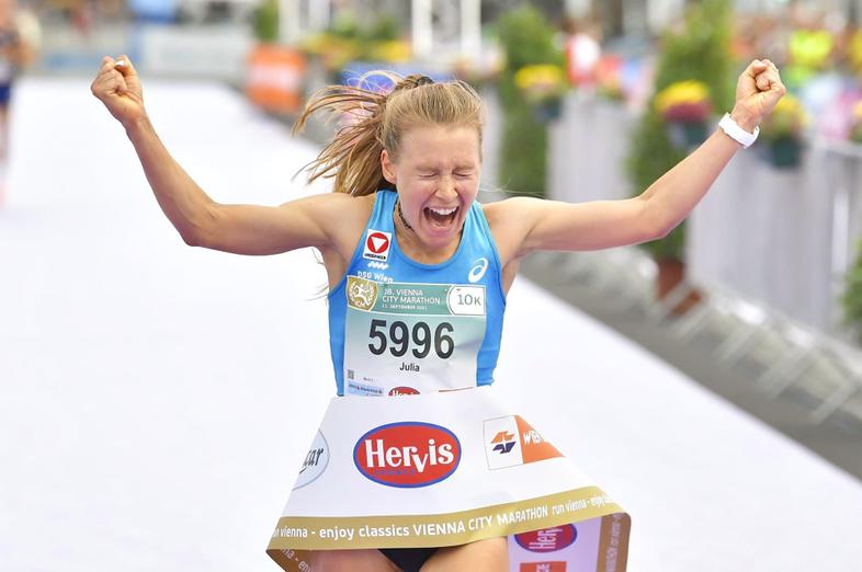 Julia Mayer Österreichischer Rekord Rekordhalterin 10km Straße Vienna City Marathon Vienna 10k Prater Rathaus DSG Wien Konrad Coca Cola Wien