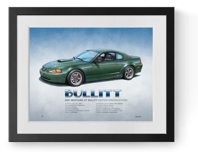 2001 Mustang Bullitt drawing