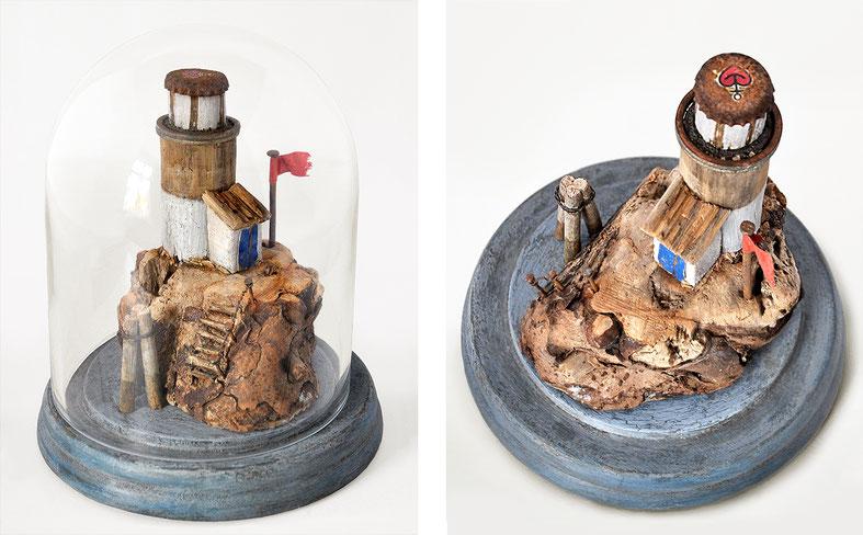 Christine Grandt - Treibholzkunst, maritime Geschenkidee zur Hochzeit, Jubiläum, Geburtstagsgeschenk, Häuschen, Treibholzhäuschen, Driftwood, Leuchtturm, Schwemmholz, Miniatur, Skulptur