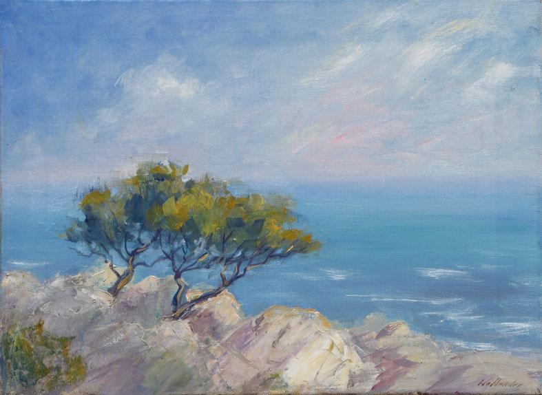Tony Wahlander (Wåhlander) Paysages de Provence, tableau, Les Calanques de Marseille