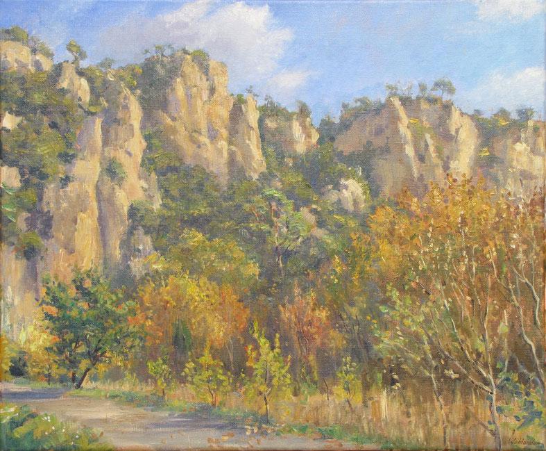 Tony Wahlander (Wåhlander) Paysages de Provence, tableau du Vallon Sourn à Correns dans le département du Var