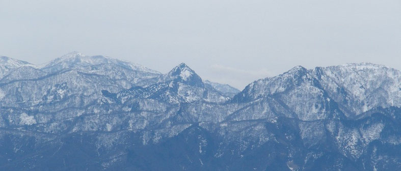 冠山・・・日野山からの山容はピラミッドです。今年は雪が少ないように見えます。