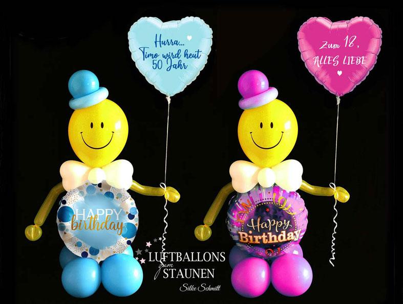 Ballon Luftballon Heliumballon Männchen Ballonmännchen Smiley  Happy Birthday Geburtstag Mädchen Junge Frau Mann personalisiert mit Wunschtext Name Versand Geschenk Mitbringsel Überraschung außergewöhnlich Deko Dekoration Party Feier Geburtstagsparty Herz
