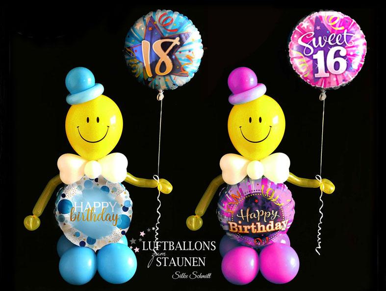 Ballon Luftballon Heliumballon Männchen Ballonmännchen Smiley  Happy Birthday Geburtstag Mädchen Junge Frau Mann 16 18 21 30 40 50 60 blau rosa Versand Geschenk Mitbringsel Überraschung außergewöhnlich Deko Dekoration Party Feier Geburtstagsparty