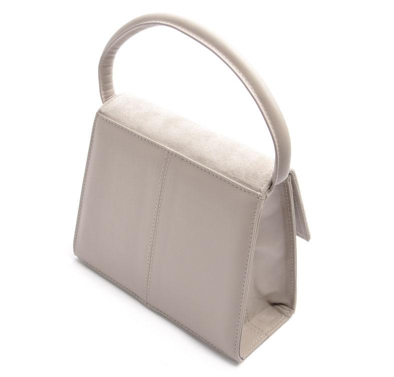 Dirndltasche Henkeltasche aus edlem Leder . Farbe grau . OWA Handarbeit Tracht