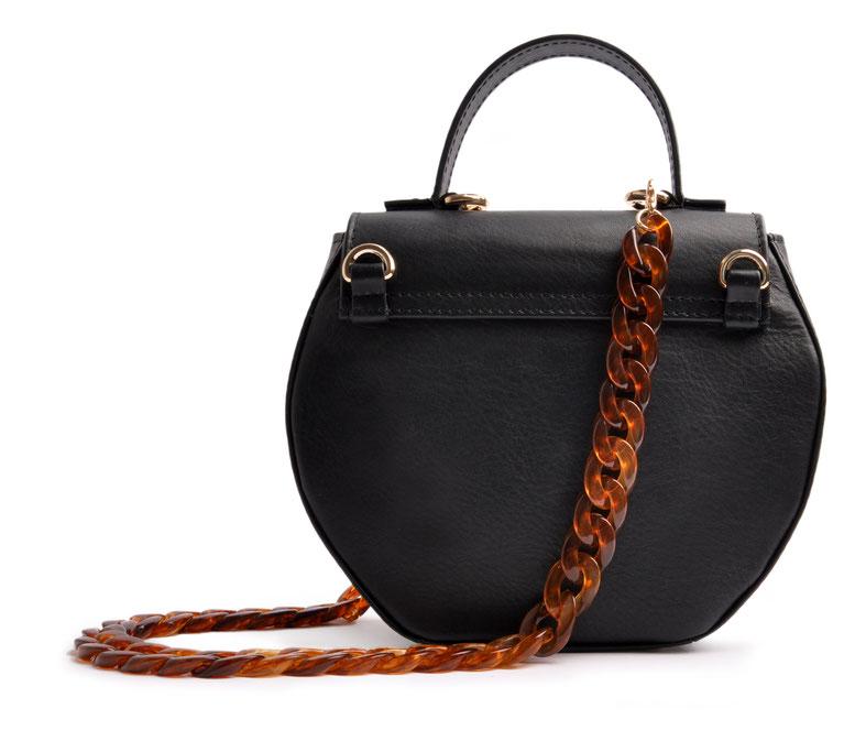 exklusive Dirndltasche in schwarz . italienisches Leder mit modischer Acrylkette . OSTWALD Traditional Craft
