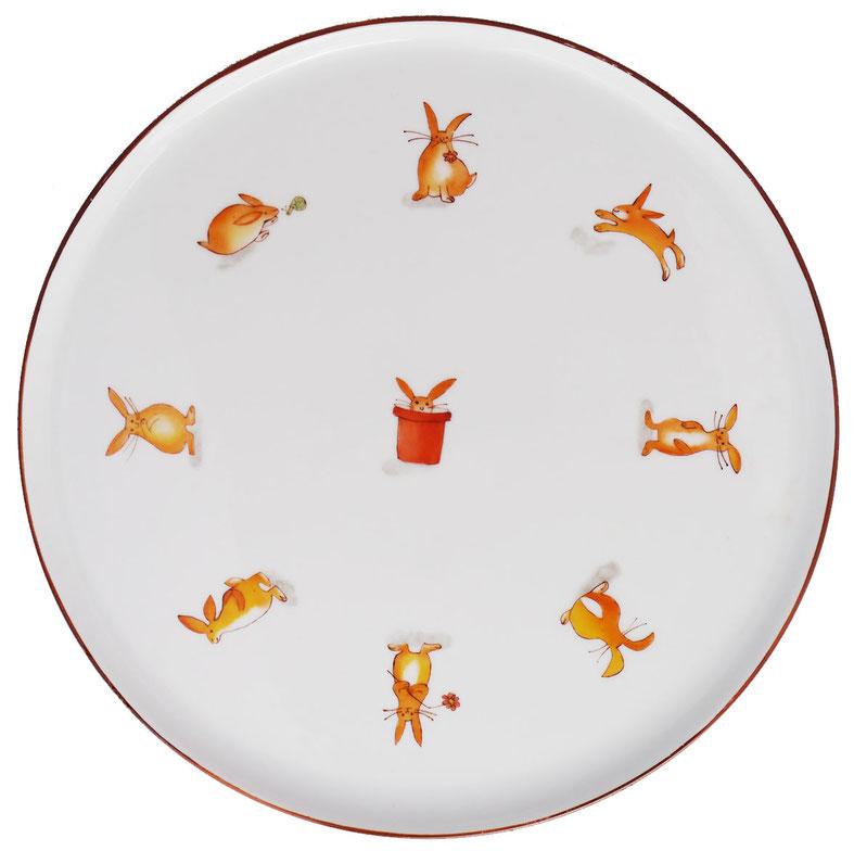 Plat rond porcelaine Petits Lapins