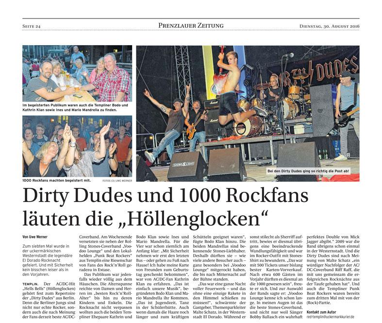 """Artikel von der Prenzlauer Zeitung zum Gig am 27.8.2016 im """"El Dorado"""", Templin"""