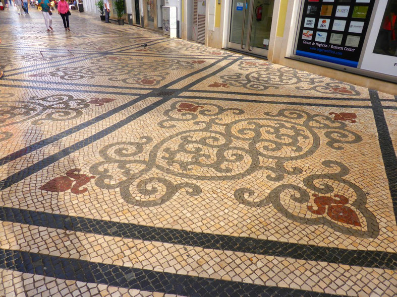 Portuguese tiled pavement in Faro business district