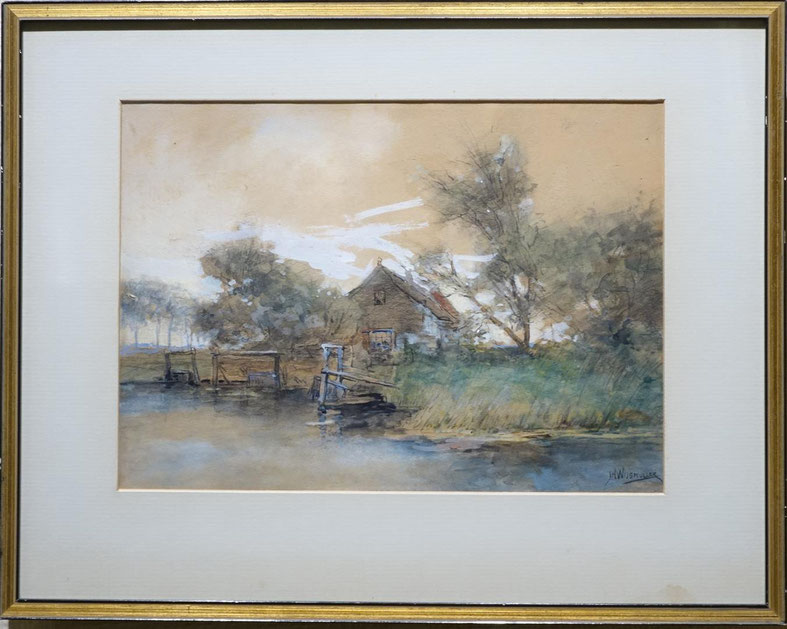 te_koop_aangeboden_een_gemengde_techniek_kunstwerk_van_de_haagse_school_kunstschilder_jan_hillebrand_wijsmuller_1855-1925