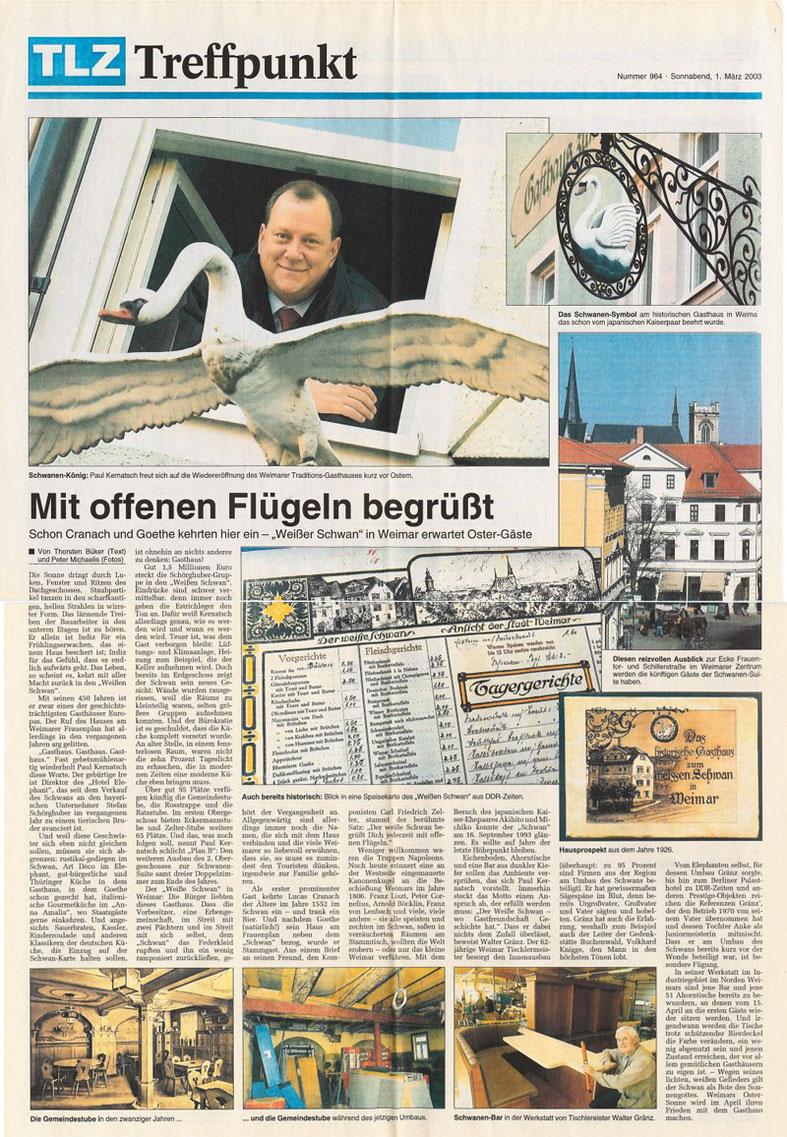"""Pressebericht aus der """"Thüringer Landeszeitung"""" vom 01.03.2003"""