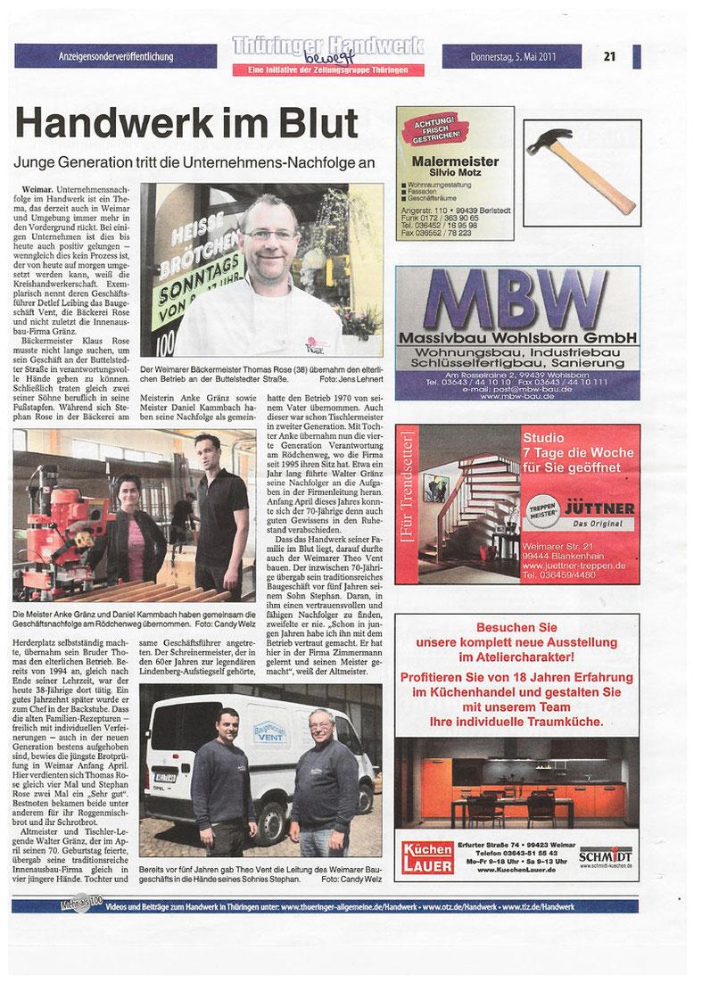 """Pressebericht aus """"Thüringer Handwerk-bewegt"""" vom 05.05.201"""
