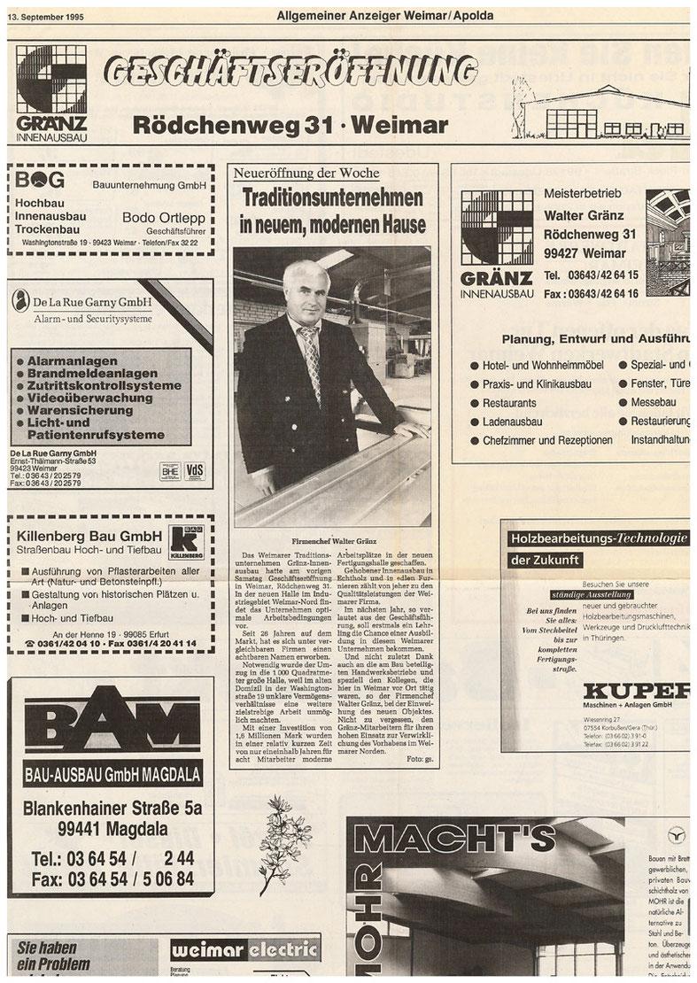 """Pressebericht aus dem """"Allgemeinen Anzeiger"""" vom 13.09.1995"""