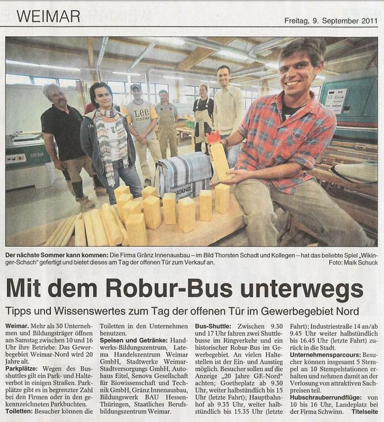 """Pressebericht aus der """"Thüringer Landeszeitung"""" vom 09.09.2011"""