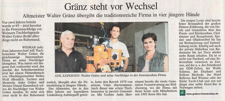"""Pressebericht aus der """"Thüringer Allgemeinen"""" vom 20.08.2008"""