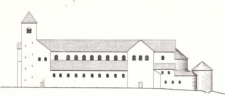 Rekonstruktion des Altfried-Domes: Ansicht von Süden