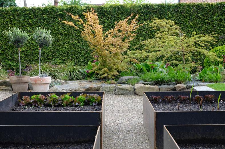 dieartigeGARTEN // May Garden - high beds / Kniehochbeete mit Salat + gesäten Zinnien