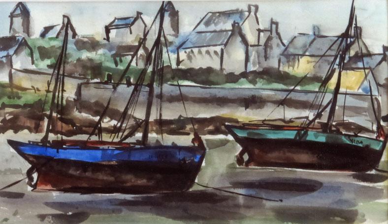 Aout 1958, le port de l'île de Batz à marée basse avec celui qui a deux mâts c'est l'Yves Thérèse   et le sloup vert  c'est certainement le Ste Thérèse