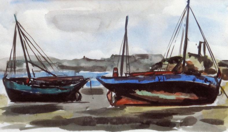 A l'île de Batz, l'Yves Thèrese en bleu, elle n'établissait jamais son tapecul, en arrière-plan l'amer de Kernok, « le pain de suc » et la tourelle de Malvoch peinte en rouge et blanc à cette époque