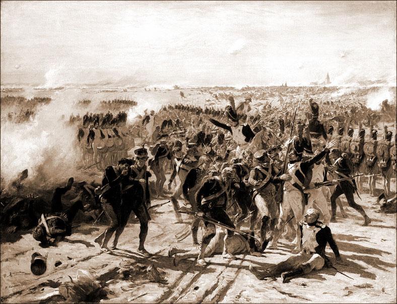 Essling 22 mai 1809. La garde tente de rallier les fuyards du corps de Lannes ( huile sur toile de Cormon )