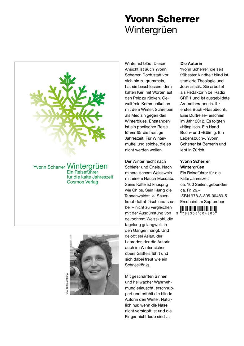 Vorschau des Verlages auf das Buch Wintergrüen, Buchcover, Foto von Yvonn Scherrer und Text