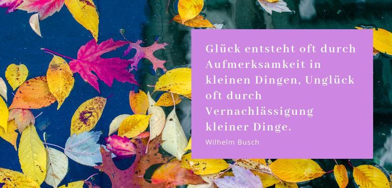 Glück entsteht oft durch die Aufmerksamkeit in kleinen Dingen, Unglück oft durch Vernachlässigung kleiner Dinge. Zitat von Wilhlem Busch. Blogparade Lieber glücklich von A bis Z #Achtsamkeit #Aufmerksamkeit #Glück #lieberglücklich #Blog #Zitat #Sprüche #W