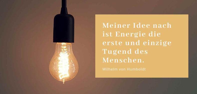Meiner Idee nach ist Energie die erste und einzige Tugend des Menschen Zitat Wilhelm von Humboldt