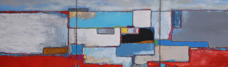 """Anne Gaelle Arnaud, oil on canvas, triptych, (86,6X23"""") abstract painting, art gallery, St paul de vence gallery, Bel Air gallery, french riviera, Biot, France, abstract art, horizontal painting"""