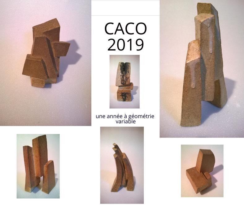 """""""Géométrie"""" Sculptures grès noir cuisson four à bois Noborigama de Juan José Ruiz dit """"Caco"""" Artiste/Auteur sculpteur céramiste 2019"""