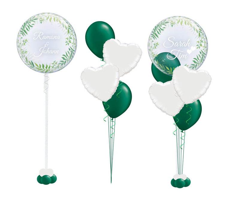 Luftballon Ballon Bubbleballon Bubble Wunschbubble Heliumballon Blätter Efeu Bubble Hochzeit Dekoration Deko Standesamt Trauung elegant edel Geburtstag mit Name personalisiert Personalisierung beschriftet Geschenk Idee Mitbringsel Überraschung Versand