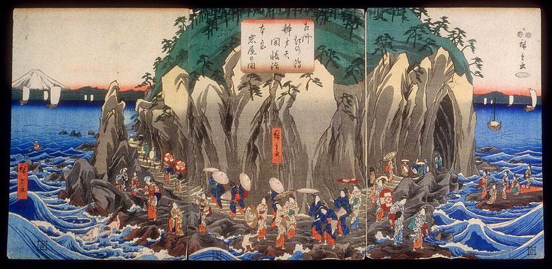 Utagawa Hiroshige- Pèlerinage aux grottes sanctuaire de Benzaiten - Enoshima