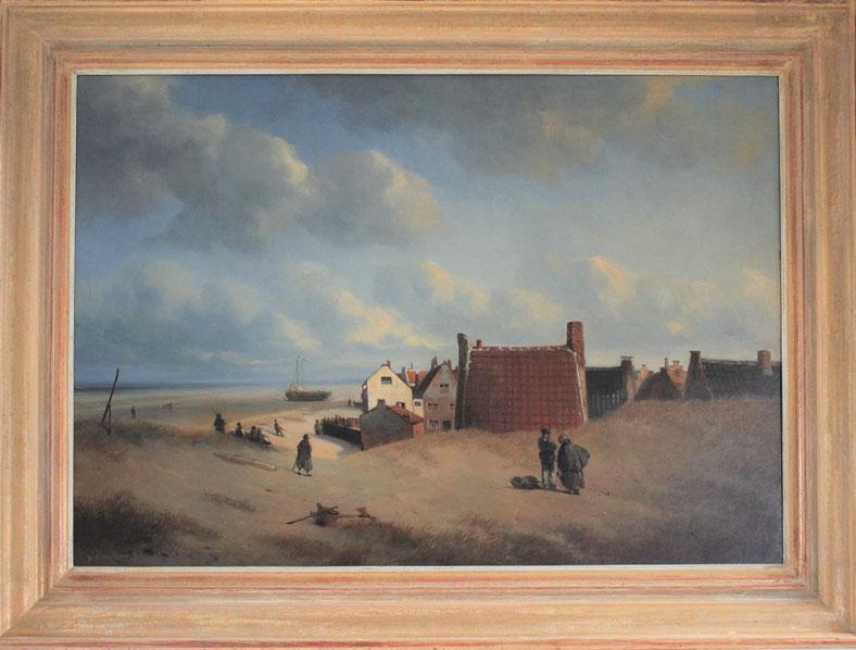 te_koop_aangeboden_een_schilderij_getiteld_schuitegat_noordwijk_aan_zee_van_de_kunstschilder_willem_lodewijk_andrea_1817-1873_hollandse_romantiek