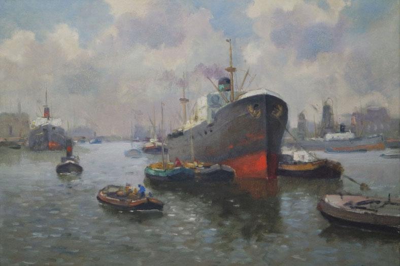 te_koop_aangeboden_een_havengezicht_van_de_kunstschilder_chris_de_bruijn_jr_1901-1974