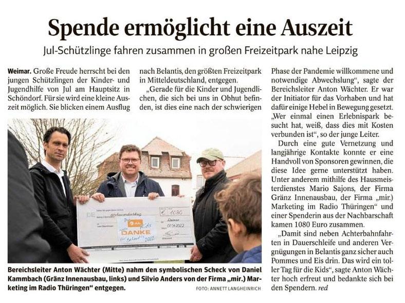 """Pressebericht aus der """"Thüringer Landeszeitung - Weimar"""" vom Dienstag, 05.03.2019"""