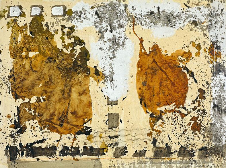 Heuwagen  · 2001 · 900 x 1.200 mm · Mischtechnik auf Papier