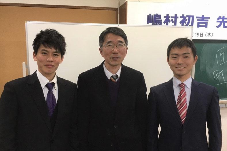嶋村初吉先生(中央)とUNITE FUKUOKA代表(左)