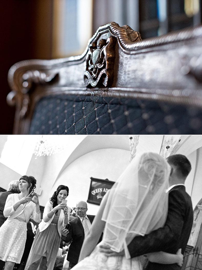 schloss purschenstein Hochzeit, hochzeitsreportage, hochzeitsfotografie, restaurant remise, stuhl, königsthron, thron