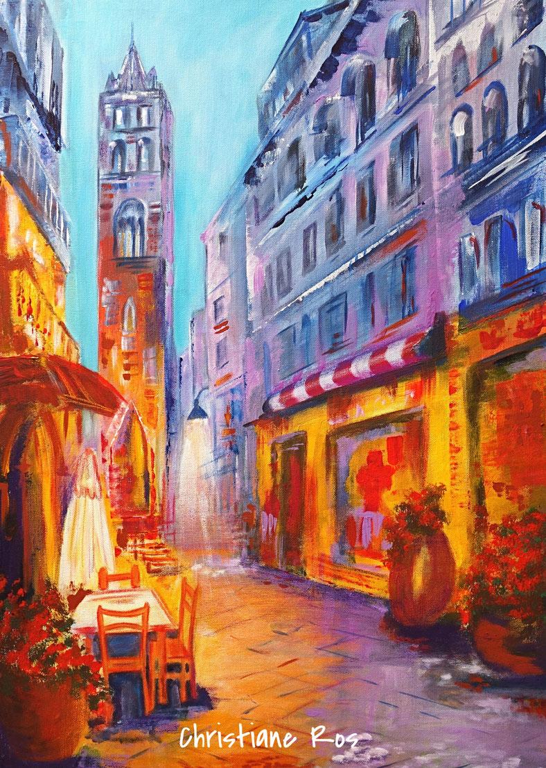 gemaltes Bild Straßencafé in Marbella © Christiane Ros