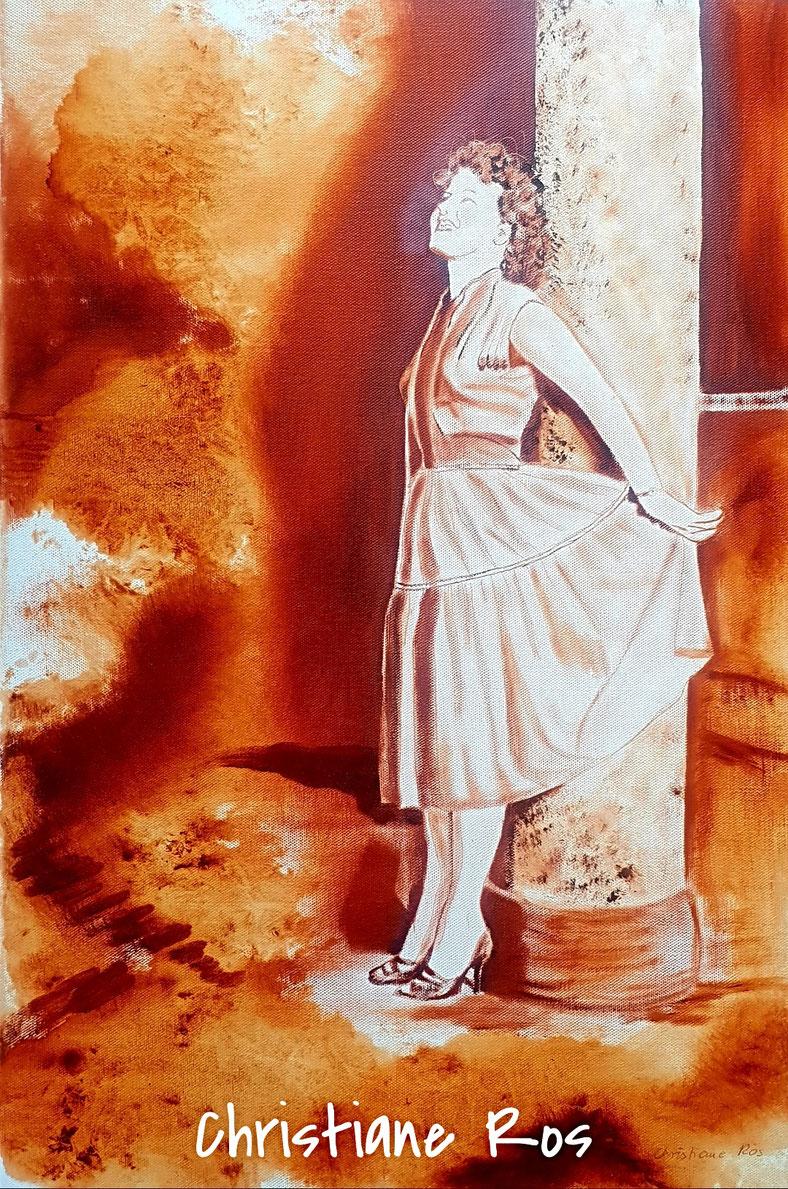 Porträt gemalt mit transparentem Öl im Stil der 50er-Jahre © Christiane Ros