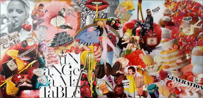 gourmandise - Art du collage personnalisé - Artiste collagiste Paris -