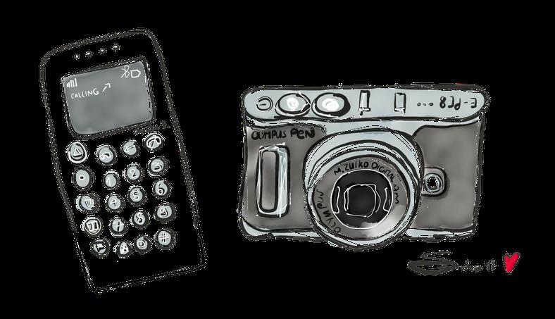 Das MP01 Handy ist von der Firma punkt.com und beim Fotoapparat handelt es sich um die Olympus PEN E-PL8