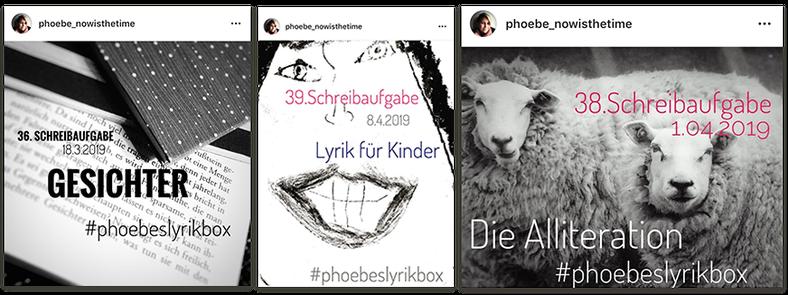 Auszug aus Phoebes Schreibaufgaben bei Instagram #phoebeslyrikbox