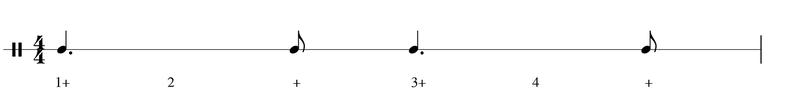 4/4 Takt punktierte Viertelnoten