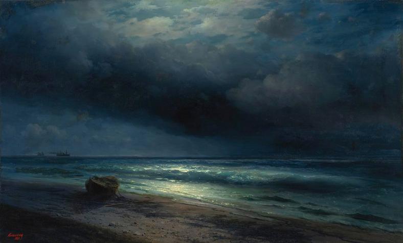 """I.K. Aivazovsky, """"Una notte al chiaro di luna al mare"""""""