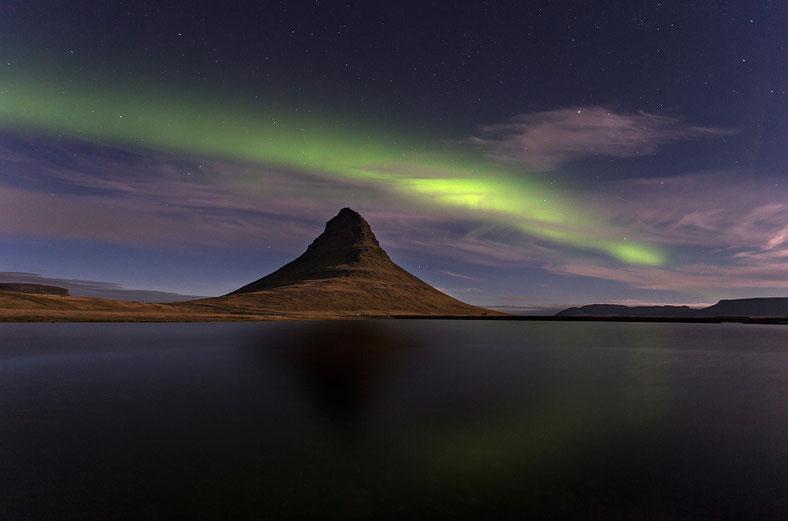 Aurora Borealis above Mount Kirjufell, Snaefellsnes peninsula, Iceland, Scandinavia, Europe