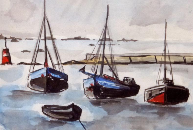 Les mouillages de la sortie du port à pleine mer, le môle et la tourelle de Malvoch